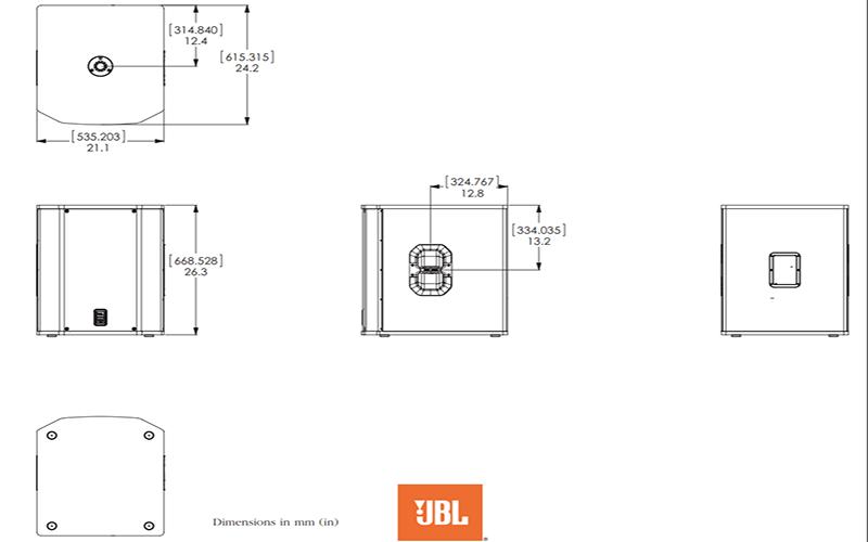 Kích thước Loa sub JBL PRX418S