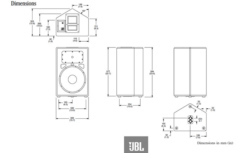Kích thước loa JBL 212