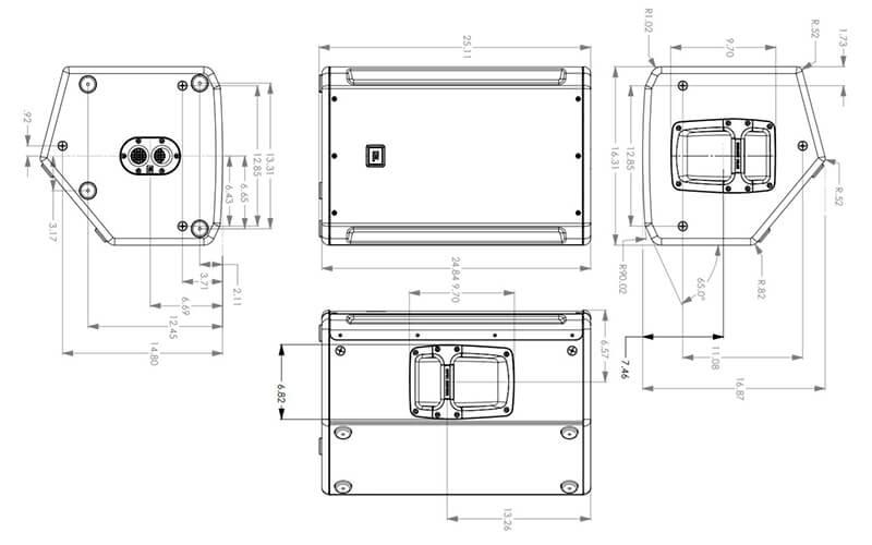 Kích thước loa JBL SRX812P