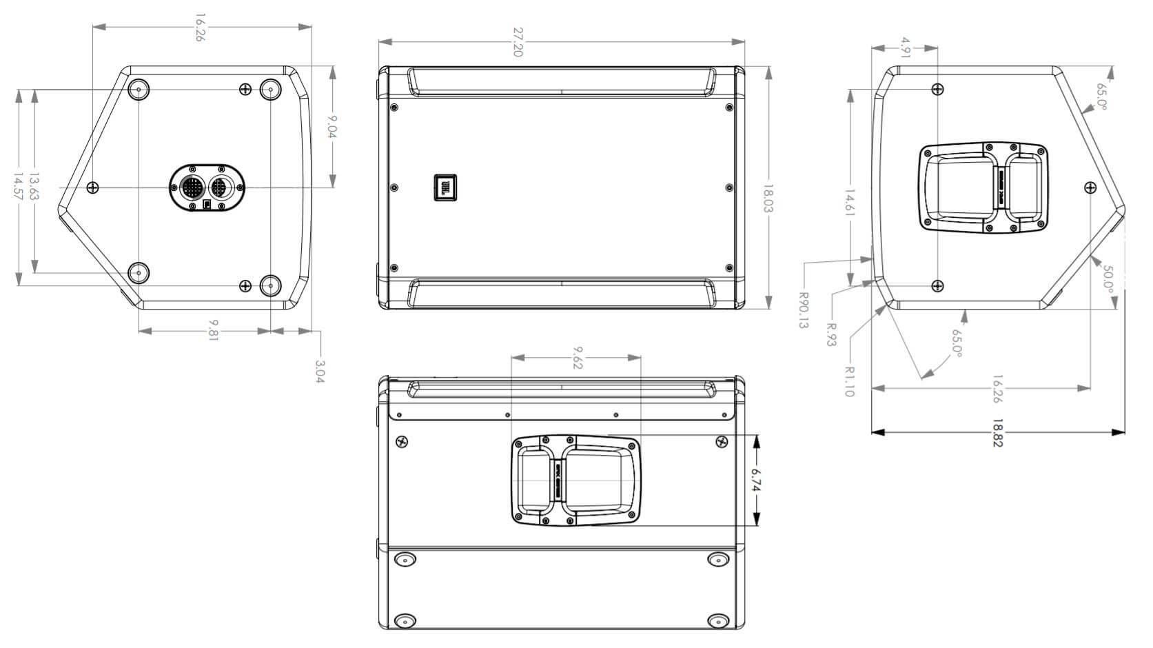 Kích thước loa JBL SRX815P