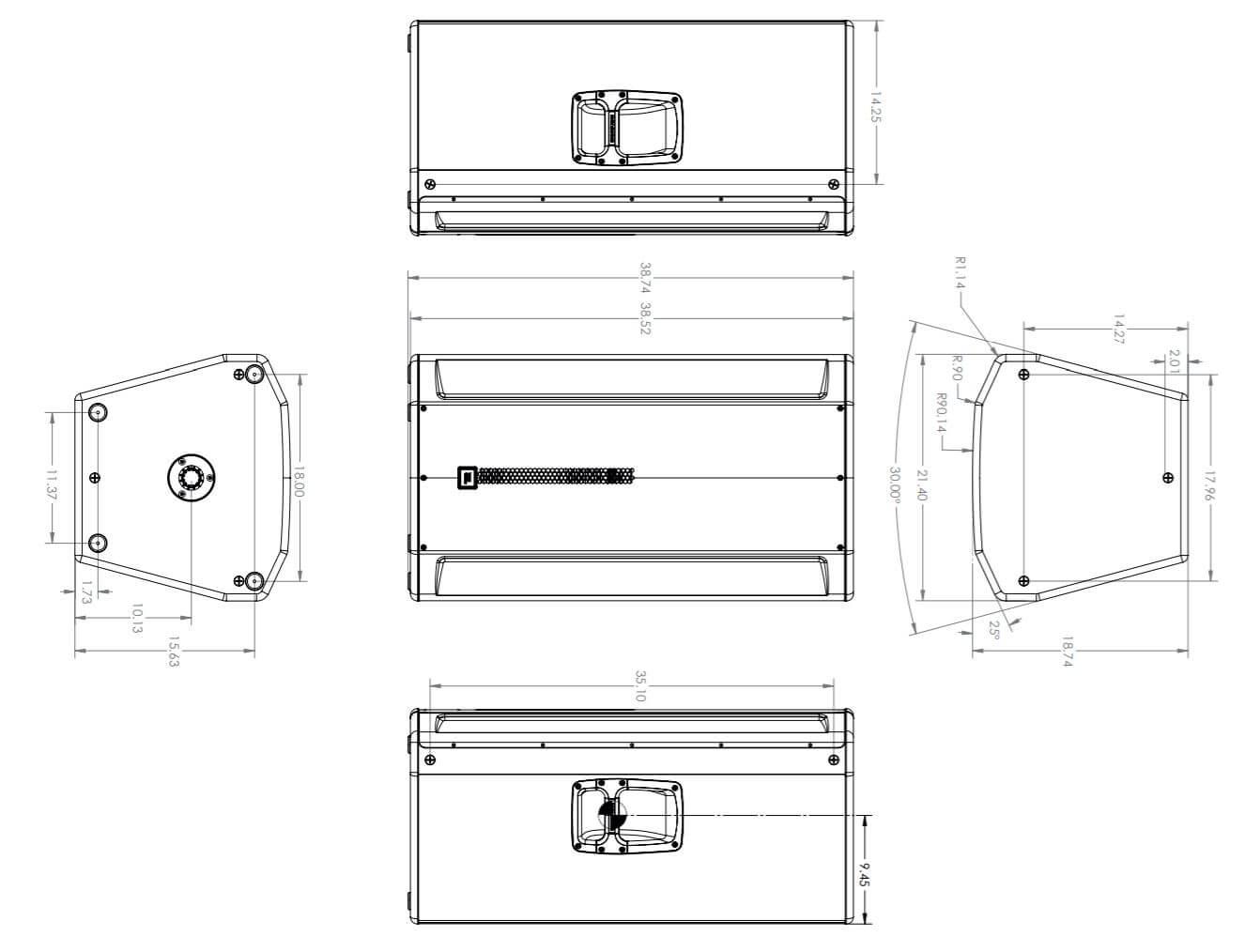 Kích thước loa JBL SRX835P