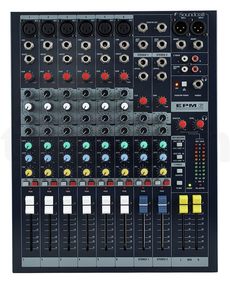 Bảng điều khiển của Mixer Soundcraft EPM6