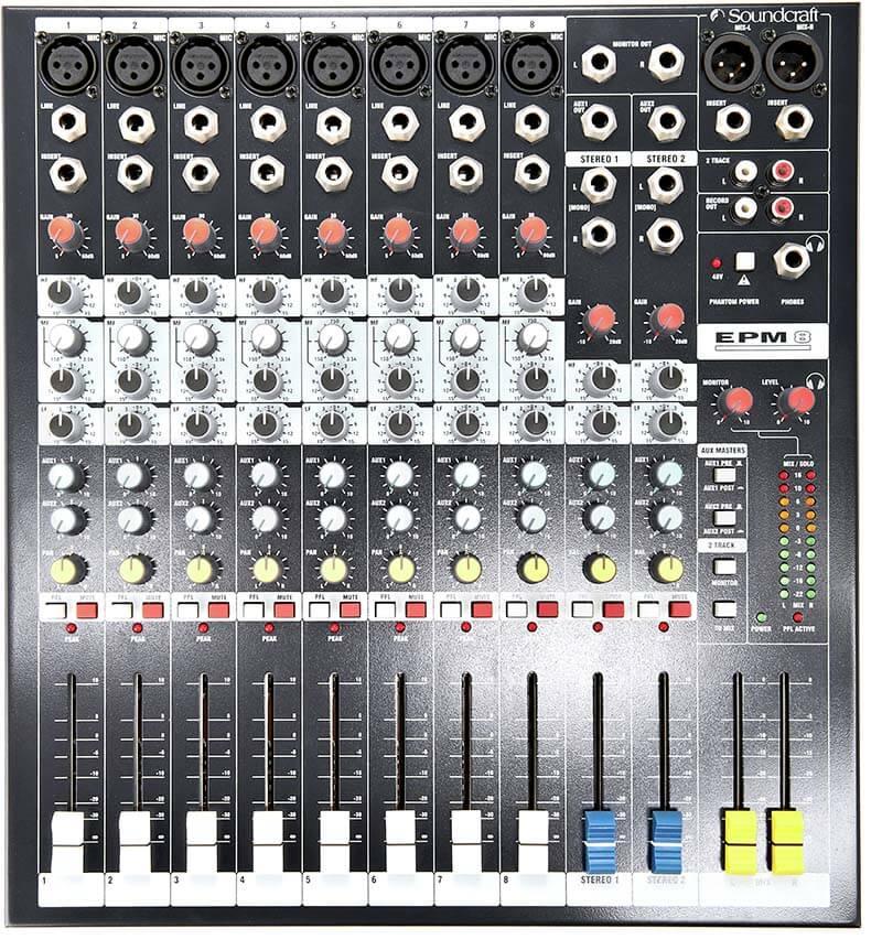 Bảng điều khiển của Mixer Soundcraft EPM8
