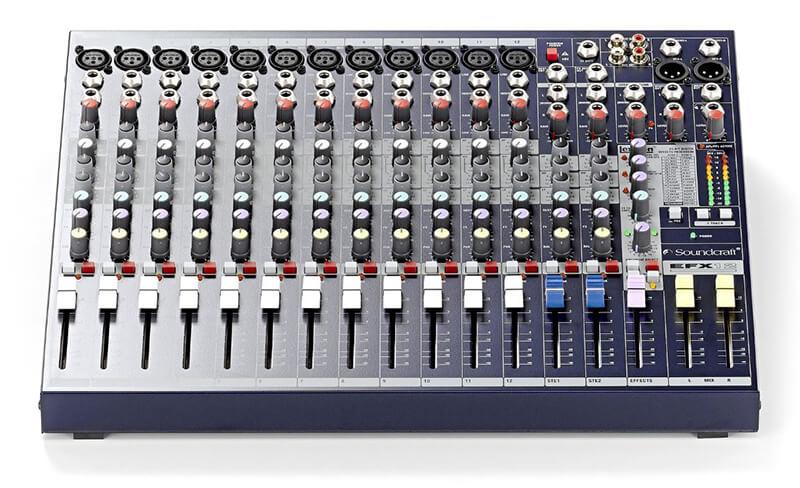 Giao diện điều khiển mixer soundcraft efx12