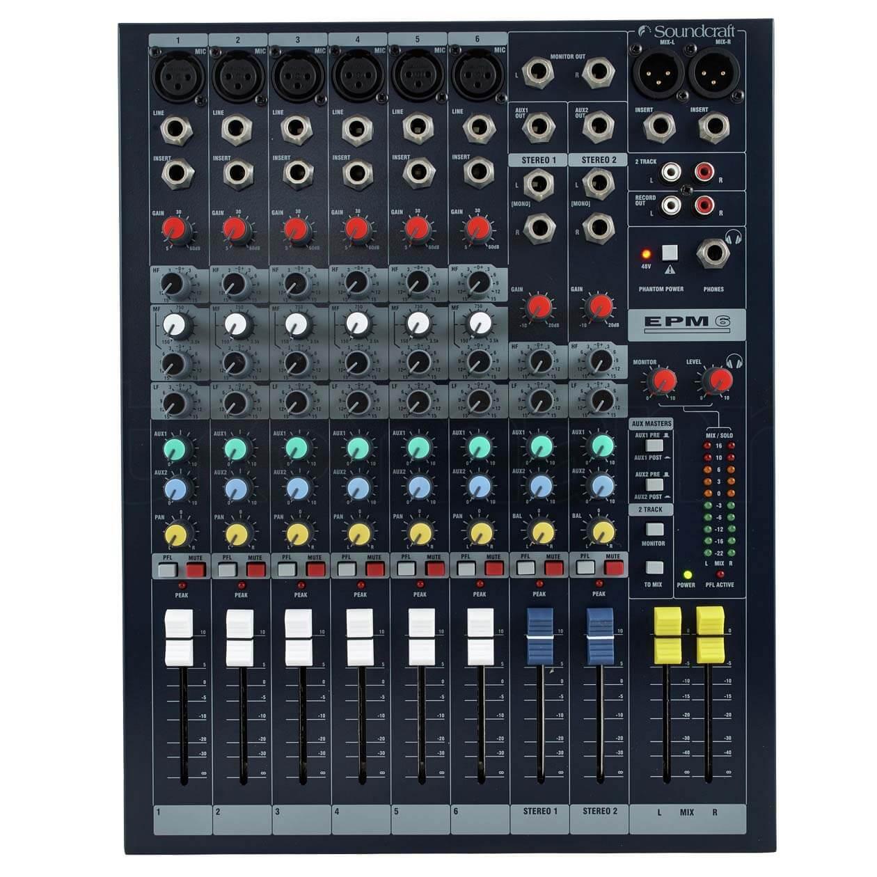 Mặt trước Mixer Soundcraft EPM6