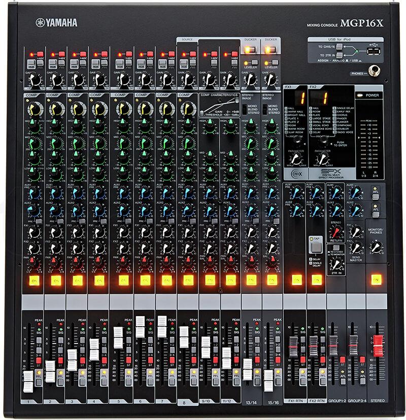 Giao diện điều khiển của Mixer Yamaha MGP16X