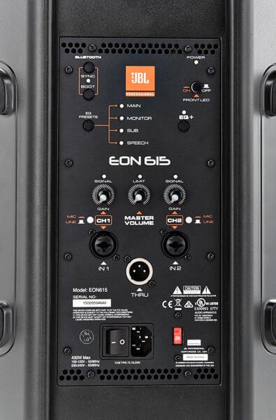 Giao diện điều khiển và kết nối của Loa JBL EON615