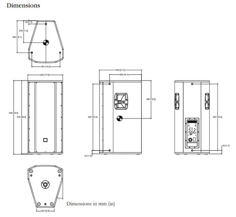 Kích thước của Loa JBL PRX835W