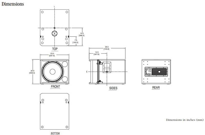 Kích thước của Loa JBL VRX018SP