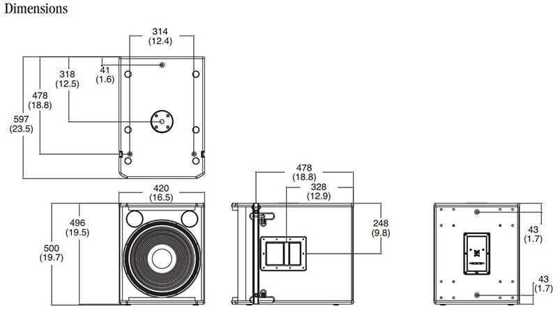 Kích thước của Loa JBL VRX915S
