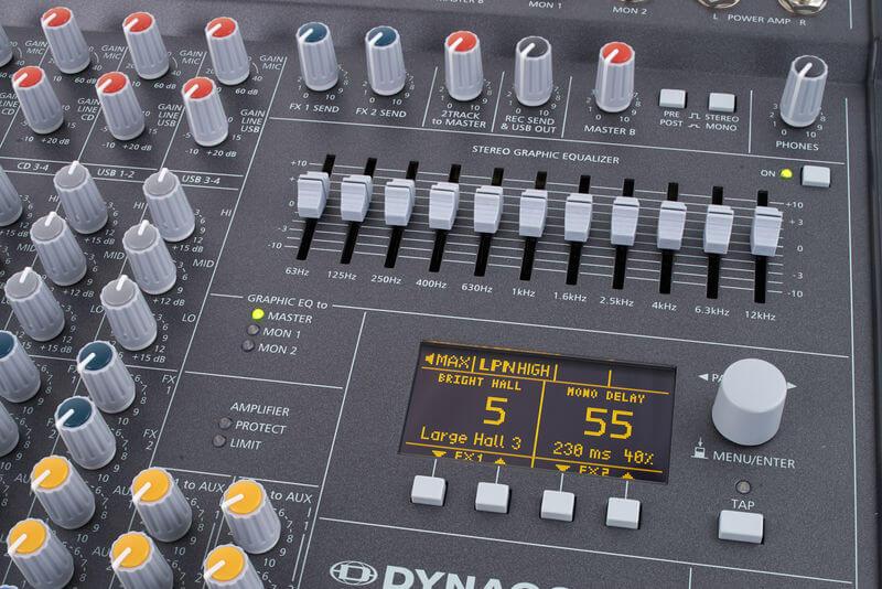 Màn hình và EQ của Mixer Dynacord Powermate 1000-3